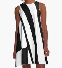 White and Black Thin Dazzle A-Line Dress