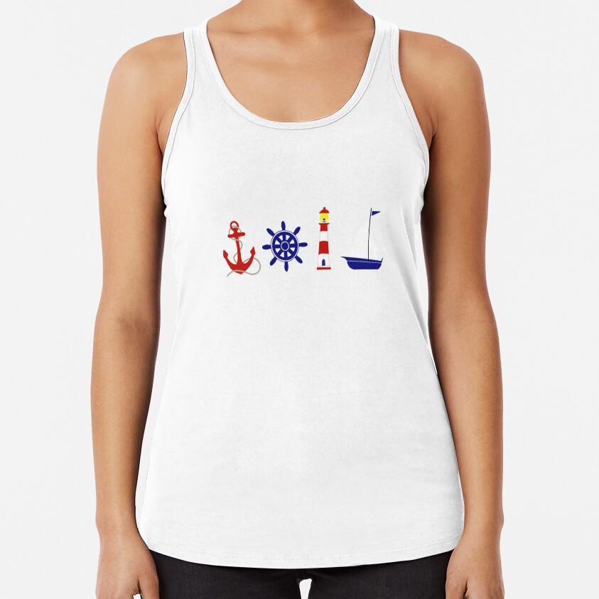 Nautical Illustration  Racerback Tank Top
