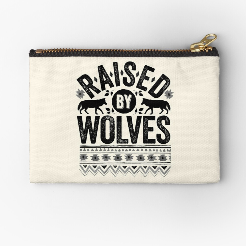 Raised By Wolves {Black + White} Zipper Pouch