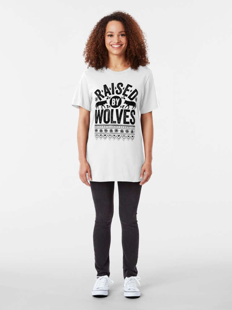 Alternate view of Raised By Wolves {Black + White} Slim Fit T-Shirt