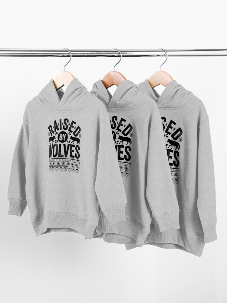 Alternate view of Raised By Wolves {Black + White} Toddler Pullover Hoodie