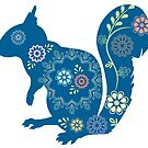 Squirrel Silhouette Flowers Leaves Scandinavian by blueidesign
