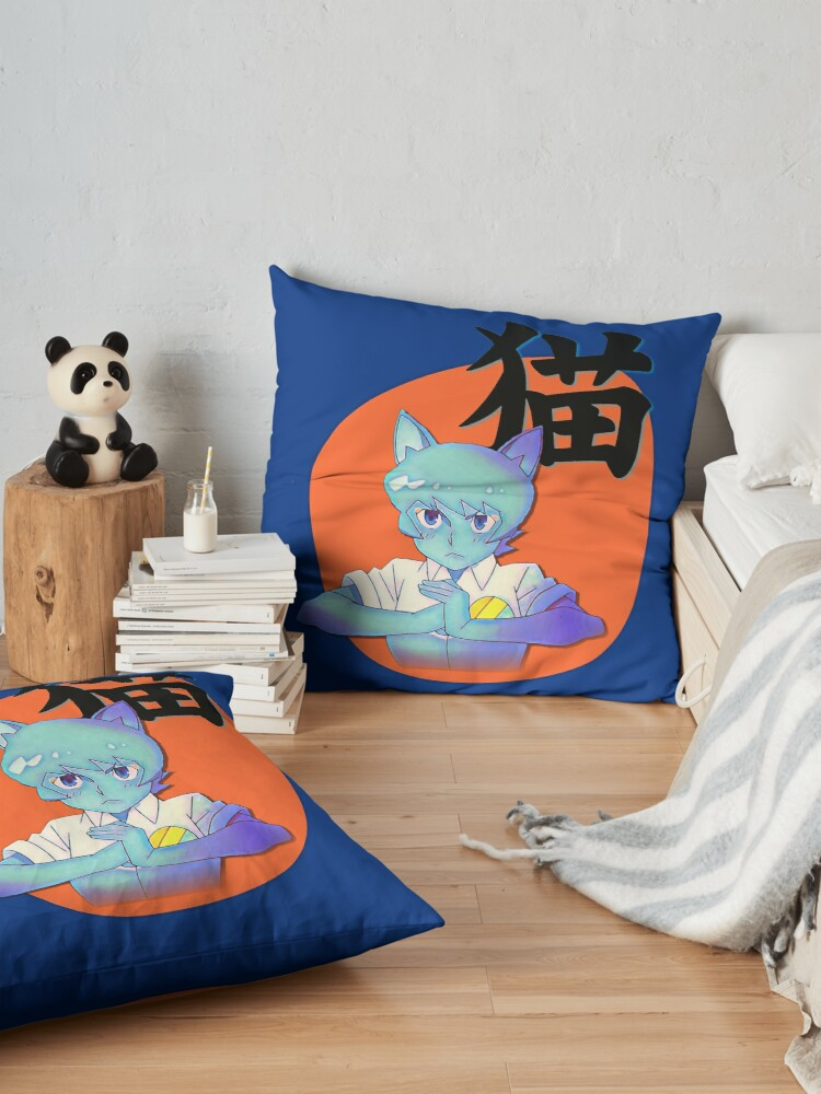 Alternate view of Anime Nicole with Cat in Japanese, Amazing world of Gumball Floor Pillow