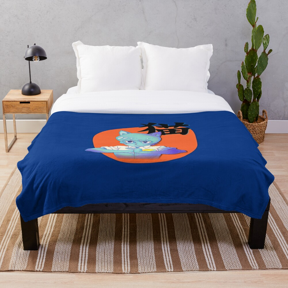 Anime Nicole with Cat in Japanese, Amazing world of Gumball Throw Blanket