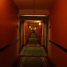 11:13pm.  red hallway. green hotel. by mellychan