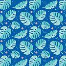 Summer Tropical Monstera + Glückliches Gesicht / Blau von jsongdesign