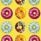 Donuts auf gelb von Yamy Morrell  Art and Design