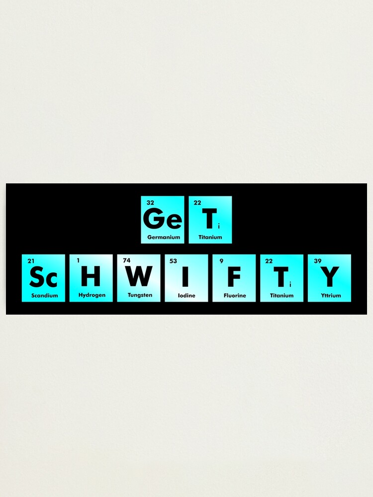 Alternate view of Get Schwifty Spelled with Chemical Symbols from the Periodic Table Photographic Print