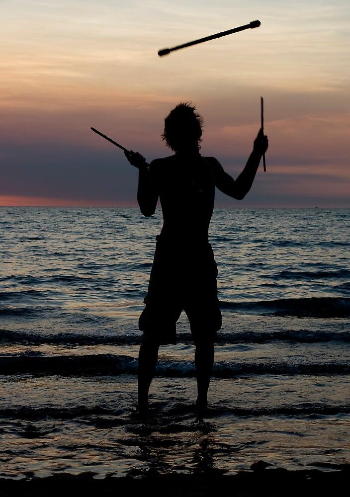 Mindil market entertainment - fire stick silhouette by Jenny Dean