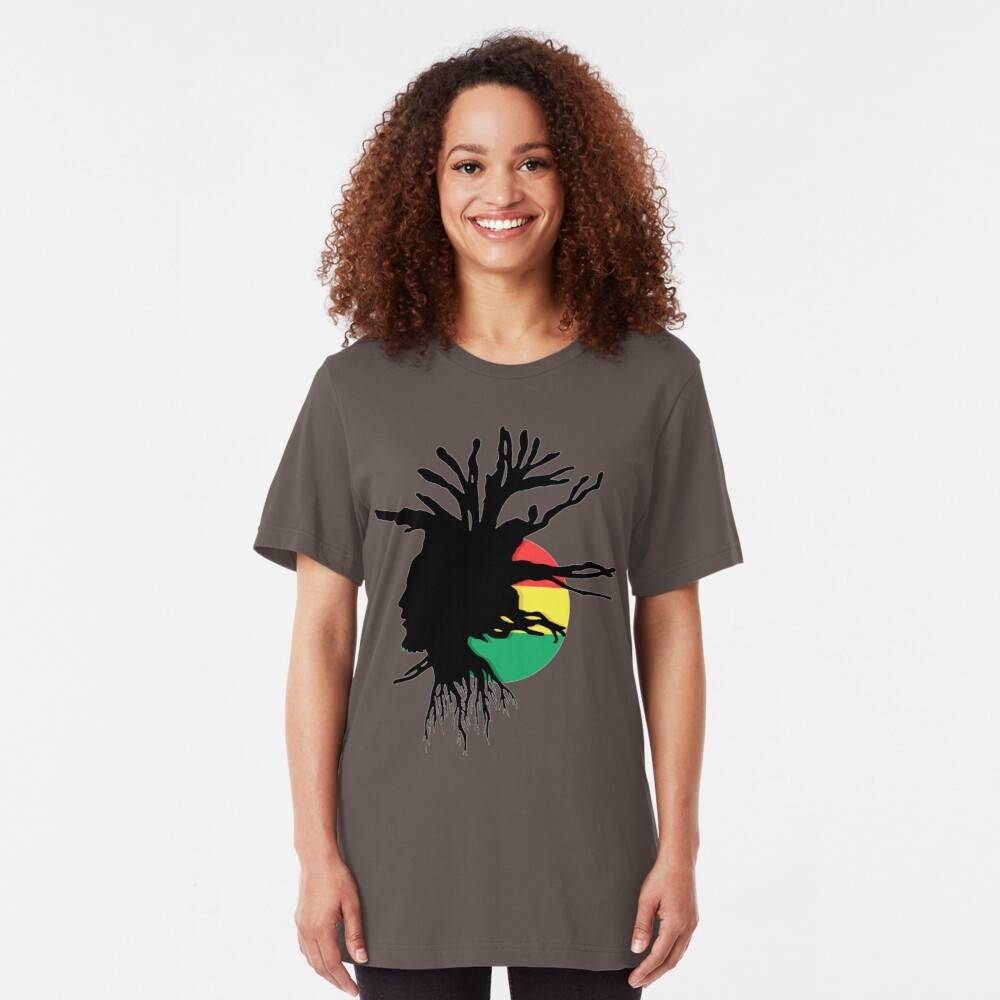 Rasta Dreads Ethiopian Flag Reggae Roots Rastafarian Jamaica Slim Fit T-Shirt