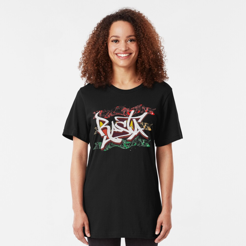 RASTA Rastafarian Jamaica Dreadlocks Roots Ethiopian Flag Graffiti Slim Fit T-Shirt