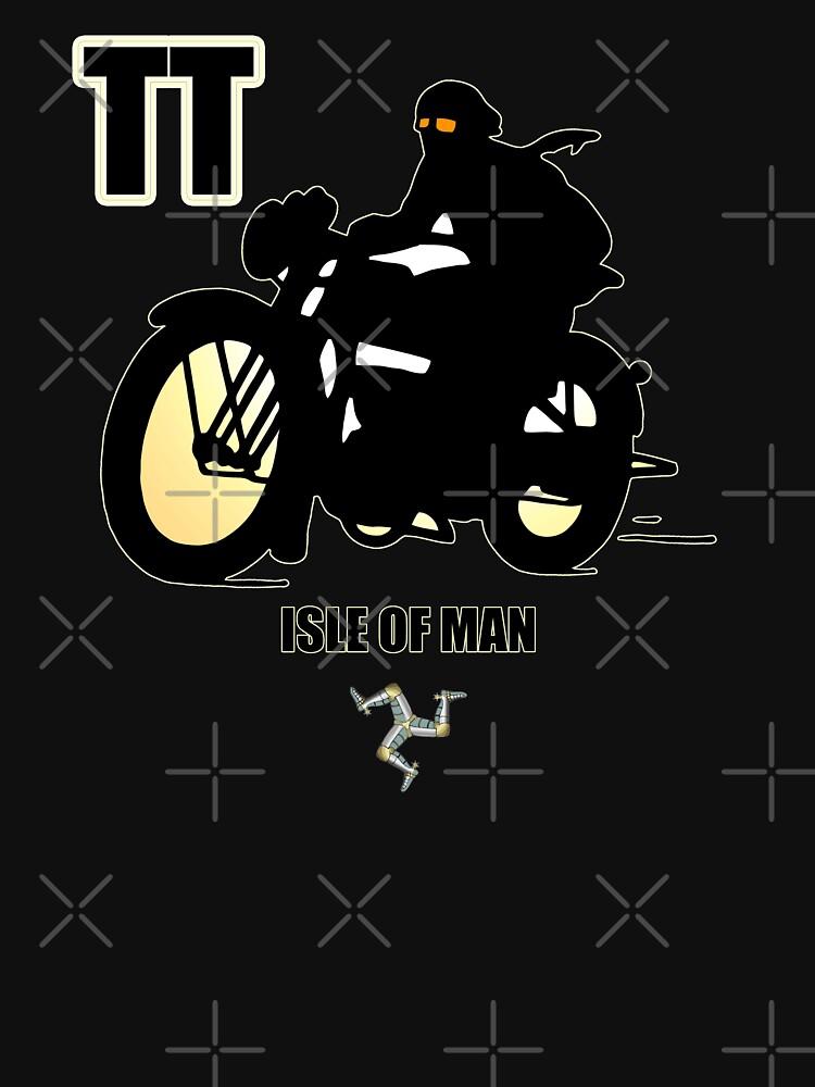 Isle Of Man TT Races Retro Biker Manx Flag 3 Legs Of Man Vintage Style Retro Print by thespottydogg