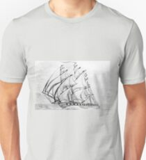 Graphite  Pencil Drawing of a Clipper Ship at Top Speed Unisex T-Shirt