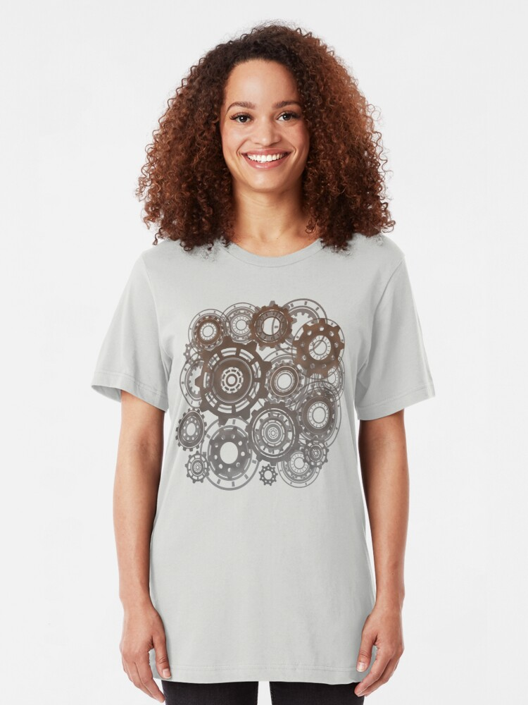 Alternate view of Steampunk Gears Cogs Clockwork Print  Slim Fit T-Shirt