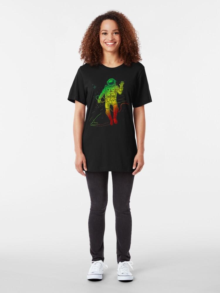 Alternate view of Rasta Dreads Reggae Jamaica Ethiopian Flag Roots Space Man Slim Fit T-Shirt