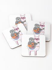 Sloth guitar llama Coasters