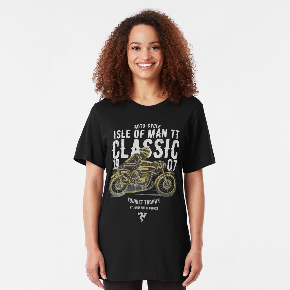 Isle Of Man TT Racing Manx Classic Vintage 3 Legs Of Man Flag Road Races GP Classic Print Slim Fit T-Shirt