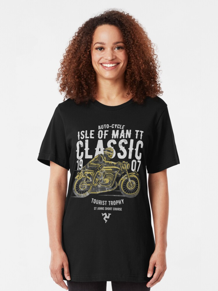 Alternate view of Isle Of Man TT Racing Manx Classic Vintage 3 Legs Of Man Flag Road Races GP Classic Print Slim Fit T-Shirt