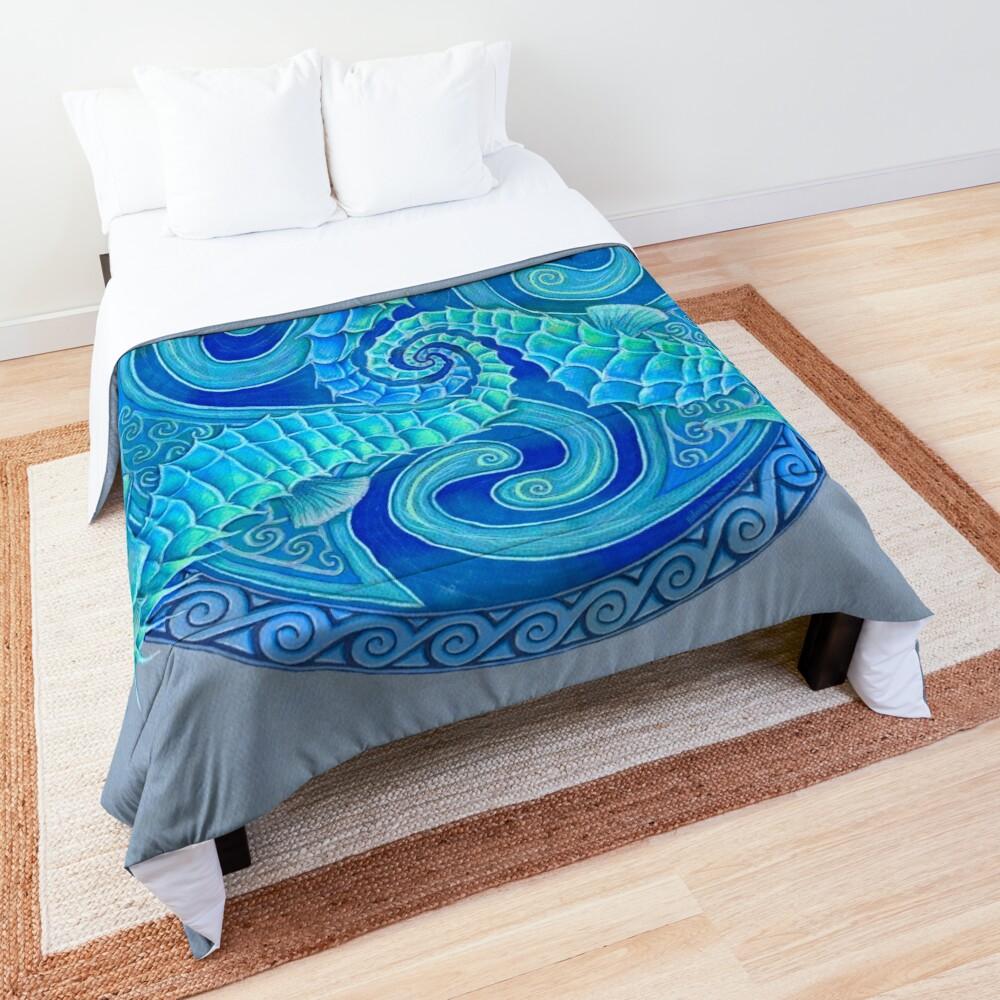 Seahorse Triskele Blue Celtic Mandala Comforter