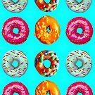 Donuts auf blau von Yamy Morrell  Art and Design