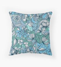 Her Garden in Blue Throw Pillow