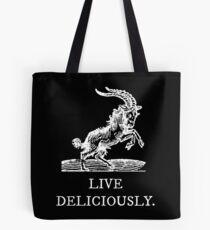 Lebe köstlich Tote Bag