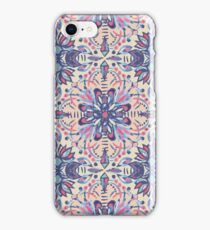 Protea Pattern in Blue, Cream & Coral iPhone Case/Skin