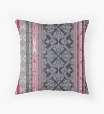 Burgundy, Pink, Navy & Grey Vintage Bohemian Wallpaper Throw Pillow