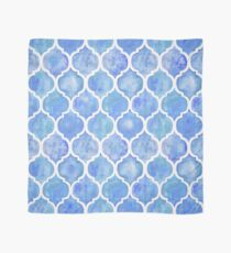 Cornflower Blue Moroccan Watercolor Pattern Scarf
