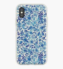 Floating Garden - a watercolor pattern in blue iPhone Case
