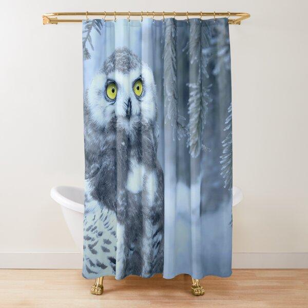 Snowy Owl Forest Bird Yellow Eyes Photo-realistic Wildlife Print Shower Curtain