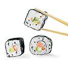 Sushi Salmon Rolls With Chopsticks by daphsam