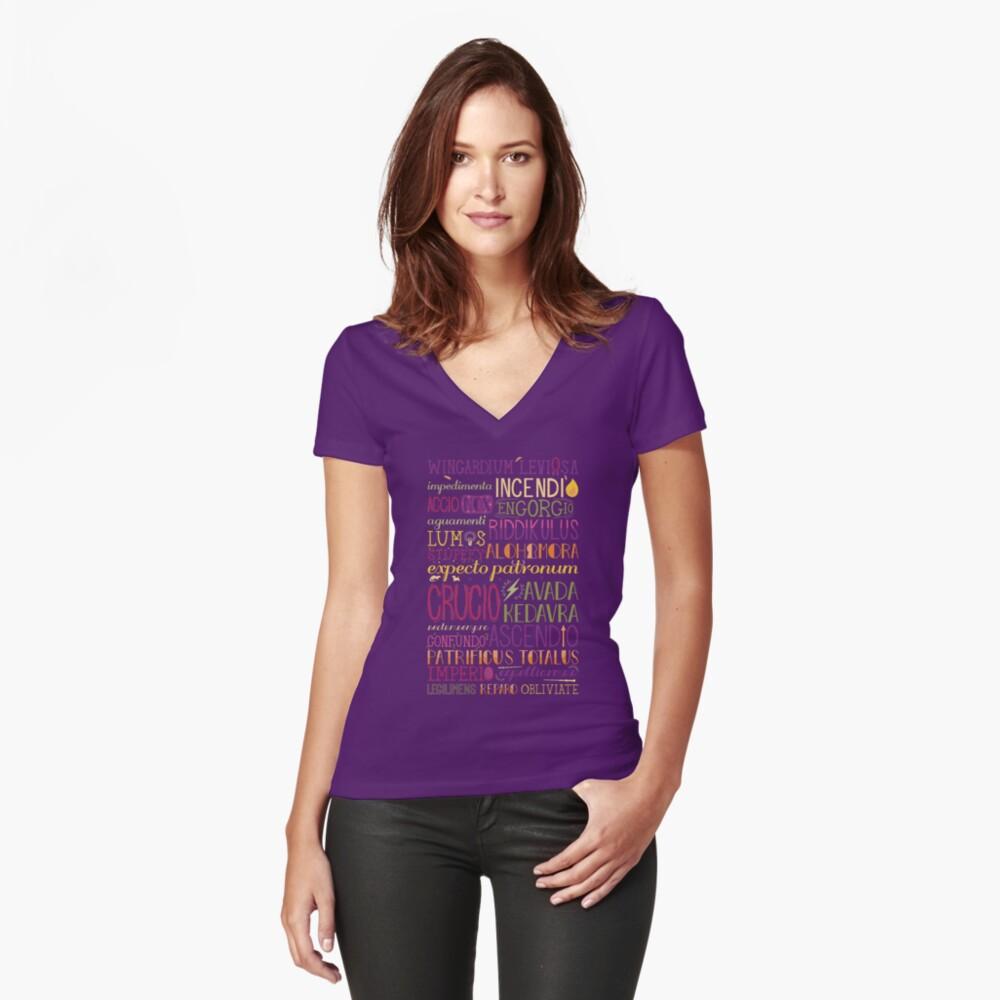 Zaubersprüche Tailliertes T-Shirt mit V-Ausschnitt