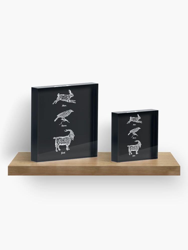Alternate view of Hare, Raven, Goat Acrylic Block