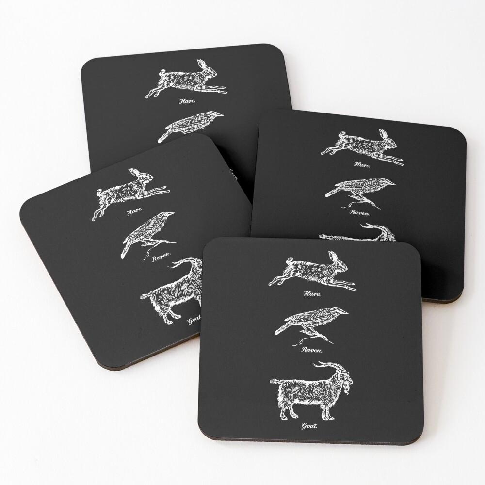 Hare, Raven, Goat Coasters (Set of 4)
