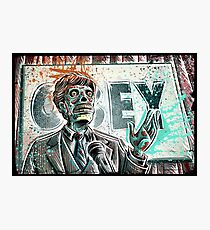 They Live, art, print, john carpenter, 80's, 90's, movie, film, action, sci fi, horror, rowdy, roddy piper, alien, green, face, politician, obey, joe badon Photographic Print