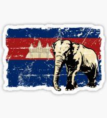Cambodia Flag - Vintage Look Sticker