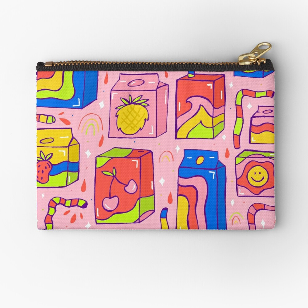 Juice Box Print Zipper Pouch