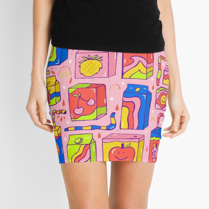 Juice Box Print Mini Skirt