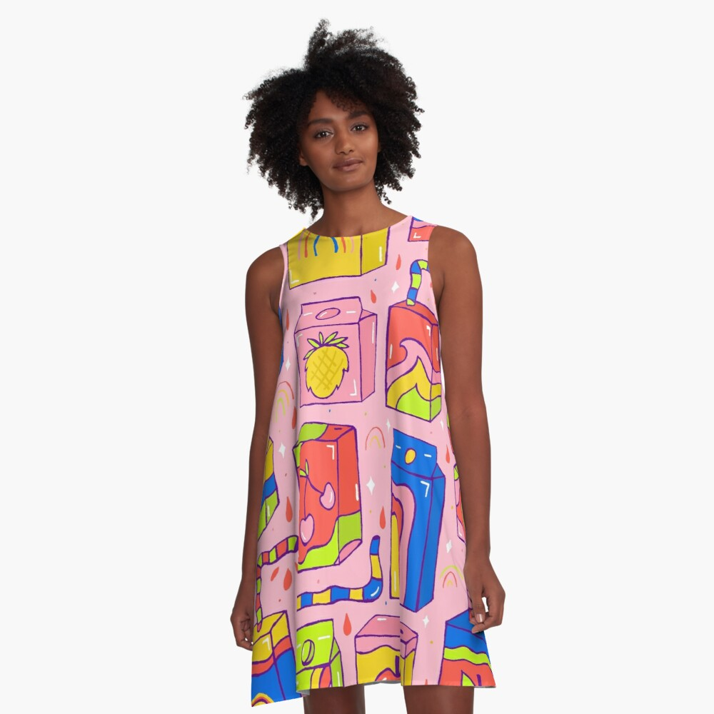 Juice Box Print A-Line Dress