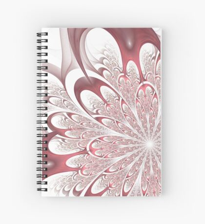 Fractal Flower - White Spiral Notebook
