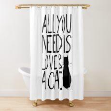 Cortina de ducha Todo lo que necesitas es amor y un gato