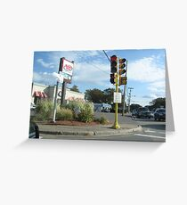 One Poled 2 Direction Traffic Light with 2 Direction pedestrian crosswalk light Part 3 Greeting Card