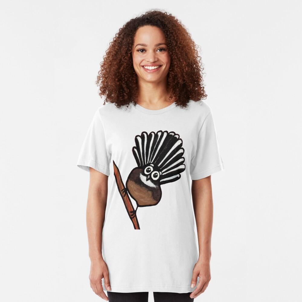 Cute Fantail - clock ft. Te Reo Maori numbers Slim Fit T-Shirt