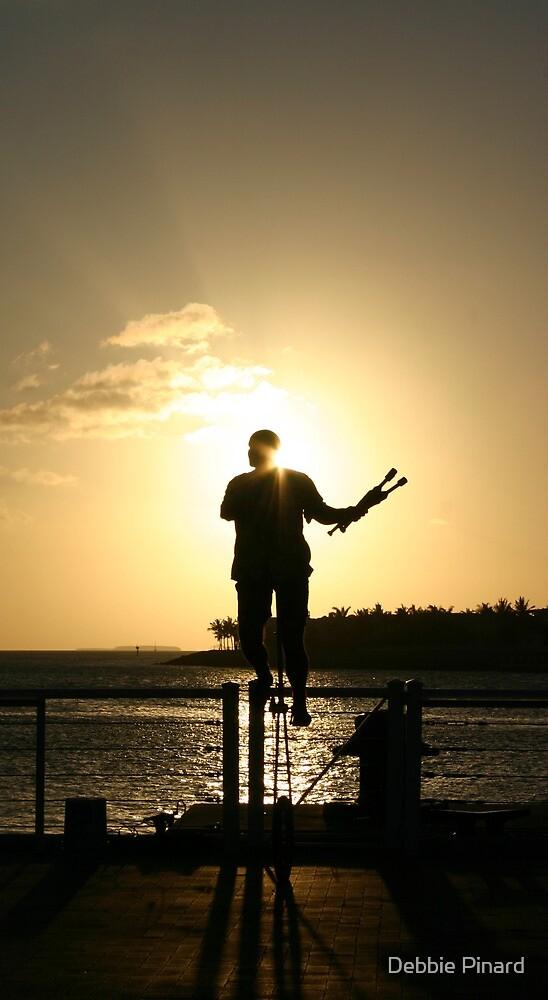 Juggler at Sunset - Key West, Florida by Debbie Pinard