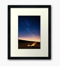 Campfire at the beach Framed Print