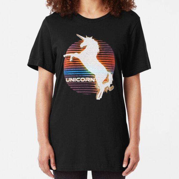 Unicorn Black Grey White Retro Galaxy Unicorn Graphic Logo  Slim Fit T-Shirt