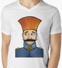 retro soldier portrait  Men's V-Neck T-Shirt