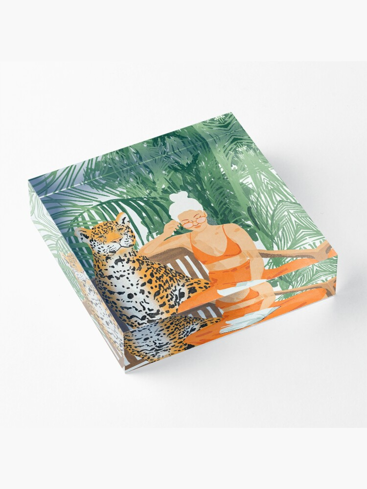 Alternate view of Jungle Vacay II #painting #illustration Acrylic Block