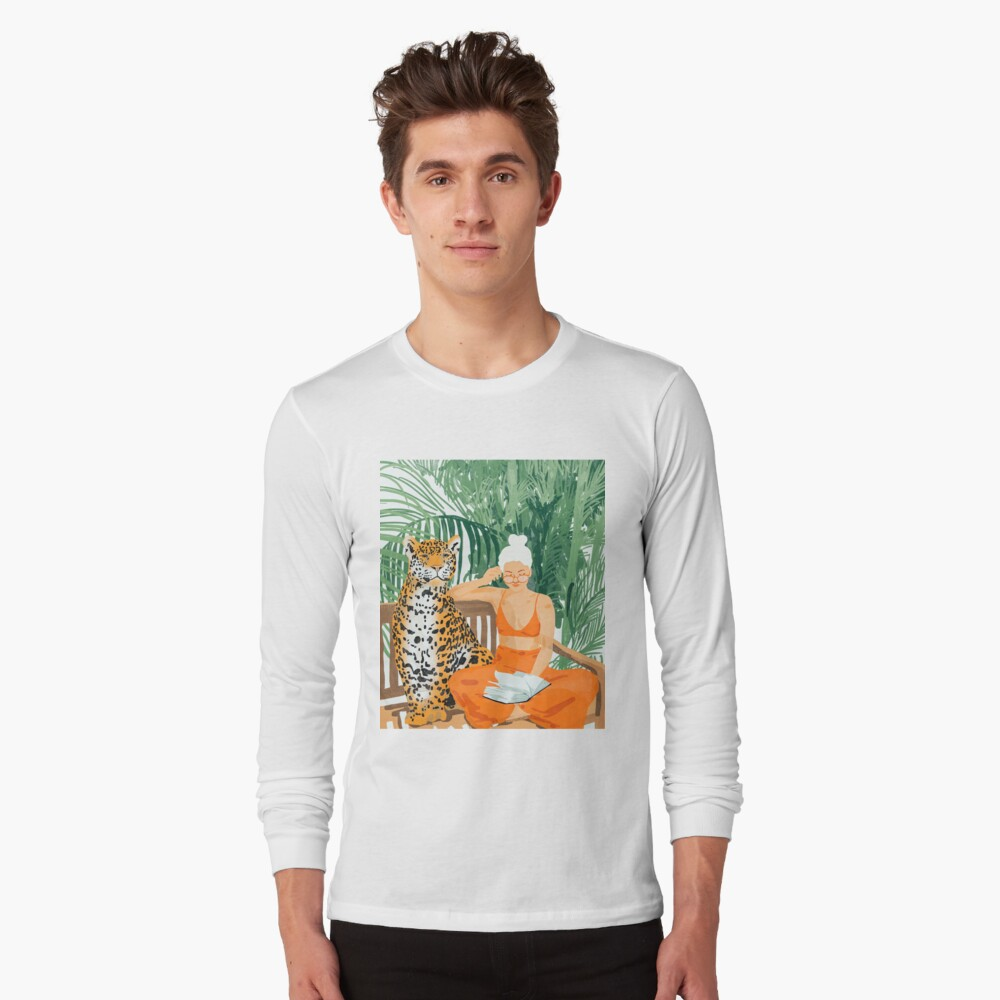 Jungle Vacay II #painting #illustration Long Sleeve T-Shirt